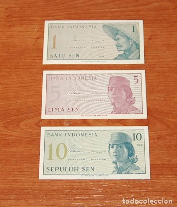 LOTE 3 BILLETES INDONESIA 1964 (Numismática - Notafilia - Billetes Extranjeros)
