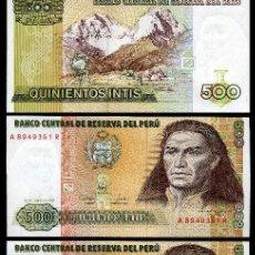 Billetes extranjeros: PERU 500 INTIS DE 1987 TRIO CORRELATIVO (JOSE GABRIEL CONDOR - TUPAC AMARU II - INCA REVOLUCIONARIO. Lote 205599792