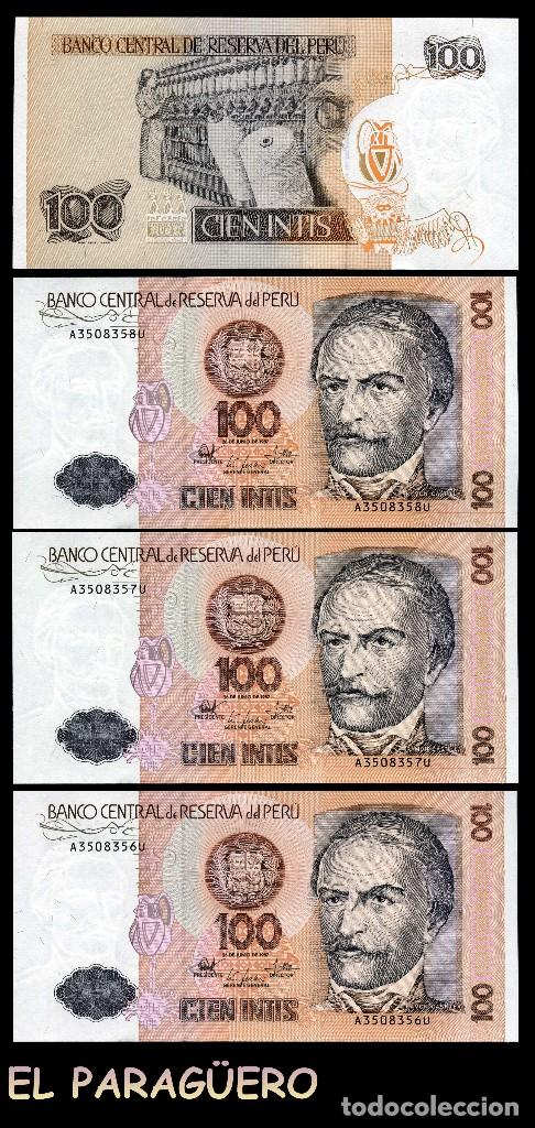 PERU 100 INTIS DE 1987 TRIO CORRELATIVO ( RAMON GARCIA - PRESIDENTE CONSTITUCIONAL DE LA REPUBLICA (Numismática - Notafilia - Billetes Extranjeros)