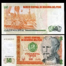 Billetes extranjeros: PERU 50 INTIS DE 1987 TRIO CORRELATIVO ( NICOLAS DE PIEROLA - PRESIDENTE DE PERU DE 1879 A 1881). Lote 205601942