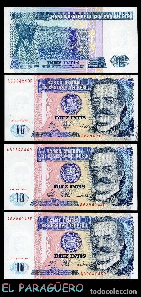 PERU 10 INTIS DE 1987 TRIO CORRELATIVO ( RICARDO PALMA - ESCRITOR ROMANTICO ) (Numismática - Notafilia - Billetes Extranjeros)