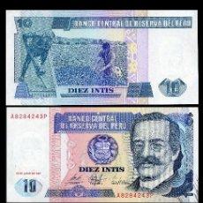 Billetes extranjeros: PERU 10 INTIS DE 1987 TRIO CORRELATIVO ( RICARDO PALMA - ESCRITOR ROMANTICO ). Lote 205603217