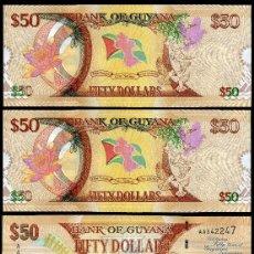 Billetes extranjeros: GUYANA 50 DOLARES DE 2016 TRIO CORRELATIVO ( CABEZA DE TIGRE Y PALOMAS ). Lote 205605497