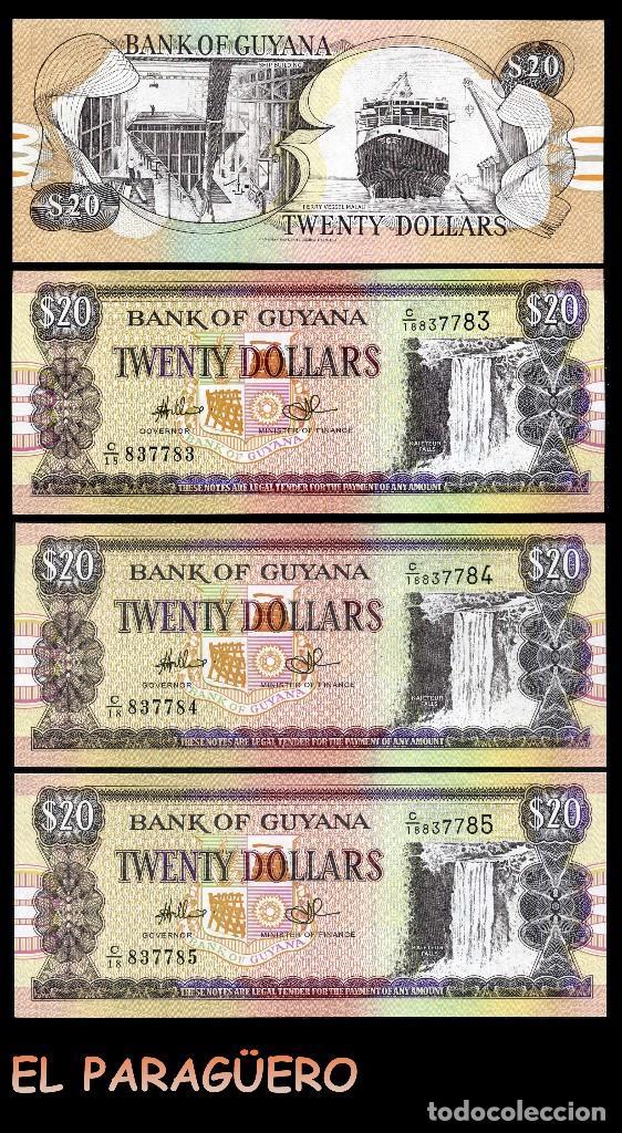GUYANA 20 DOLARES DE 1989 TRIO CORRELATIVO ( CASCADA O CATARATA KAIATEUR EN EL RIO POTARO EN GUYANA) (Numismática - Notafilia - Billetes Extranjeros)