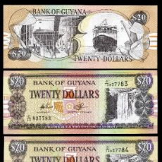 Billetes extranjeros: GUYANA 20 DOLARES DE 1989 TRIO CORRELATIVO ( CASCADA O CATARATA KAIATEUR EN EL RIO POTARO EN GUYANA). Lote 205606058