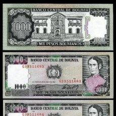 Billetes extranjeros: BOLIVIA 1000 PESOS DE 1982 TRIO CORRELATIVO ( JUANA AZURDUY - CORONEL DEL EGERCITO DE BOLIVIA ). Lote 205606501
