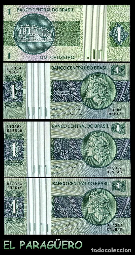 BRASIL 1 CRUZEIRO DE 1973 TRIO CORRELATIVO ( CABEZA DE LA ESTATUA DE LA LIBERTAD ) (Numismática - Notafilia - Billetes Extranjeros)