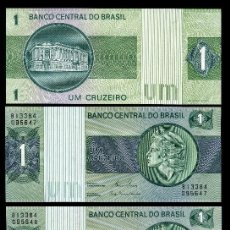 Billetes extranjeros: BRASIL 1 CRUZEIRO DE 1973 TRIO CORRELATIVO ( CABEZA DE LA ESTATUA DE LA LIBERTAD ). Lote 205606783