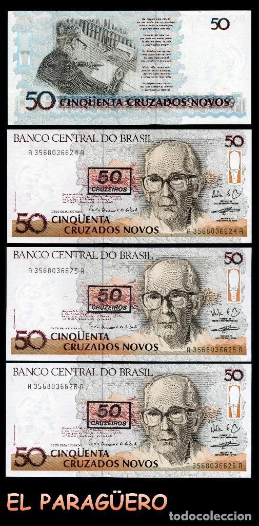 BRASIL 50 CRUZEIROS DE 1990 TRIO CORRELATIVO ( OSWALD DE ANDRADE - POETA BRASILEÑO ) (Numismática - Notafilia - Billetes Extranjeros)