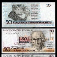 Billetes extranjeros: BRASIL 50 CRUZEIROS DE 1990 TRIO CORRELATIVO ( OSWALD DE ANDRADE - POETA BRASILEÑO ). Lote 205607896