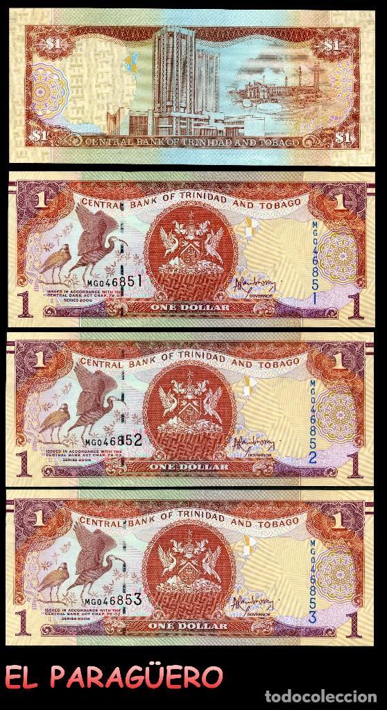 TRINIDAD TOBAGO 1 DOLAR DE 2006 TRIO CORRELATIVO ( AVE GALLIFORME - GUACHARACA CULI ROJA ) (Numismática - Notafilia - Billetes Extranjeros)