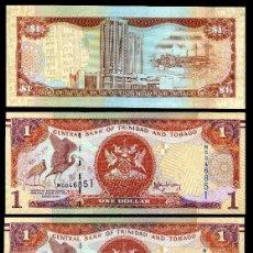 Billetes extranjeros: TRINIDAD TOBAGO 1 DOLAR DE 2006 TRIO CORRELATIVO ( AVE GALLIFORME - GUACHARACA CULI ROJA ). Lote 205608265