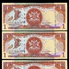 Billetes extranjeros: TRINIDAD TOBAGO 1 DOLAR DE 2006 TRIO CORRELATIVO ( AVE GALLIFORME - GUACHARACA CULI ROJA ). Lote 205608520