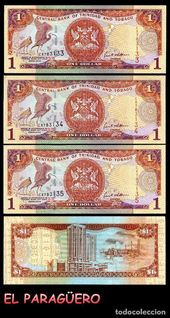TRINIDAD TOBAGO 1 DOLAR DE 2002 TRIO CORRELATIVO ( AVE GALLIFORME - GUACHARACA CULI ROJA ) (Numismática - Notafilia - Billetes Extranjeros)