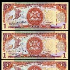 Billetes extranjeros: TRINIDAD TOBAGO 1 DOLAR DE 2002 TRIO CORRELATIVO ( AVE GALLIFORME - GUACHARACA CULI ROJA ). Lote 205608733