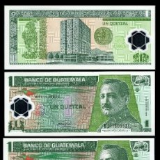 Billetes extranjeros: GUATEMALA 1 QUETZAL DE 2008 TRIO CORRELATIVO( GENERAL JOSE Mª ORELLANA .PRESIDENTE DE GUATEMALA. Lote 205609235
