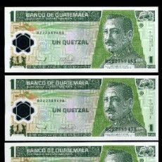 Billetes extranjeros: GUATEMALA 1 QUETZAL DE 2006 TRIO CORRELATIVO( GENERAL JOSE Mª ORELLANA .PRESIDENTE DE GUATEMALA. Lote 205609453