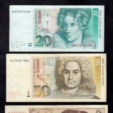 Billetes extranjeros: ALEMANIA 3 BILLETES 20-50 MARCOS 1980-1991-1993 MBC. Lote 205694540