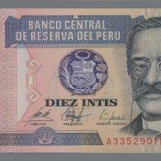 Notas Internacionais: PERÚ 10 INTIS 1987 S/C. Lote 205701942