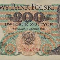 Notas Internacionais: POLONIA 200 ZLOTYCH 1988 S/C ESCASOS. Lote 205712626