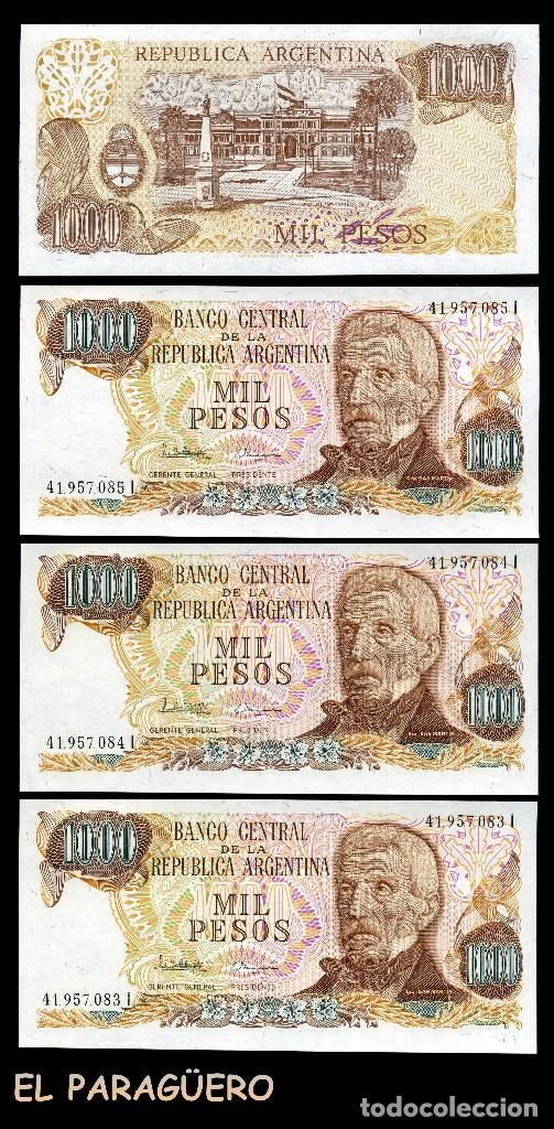 ARGENTINA 1000 PESOS DE 1978 TRIO CORRELATIVO(JOSE DE SAN MARTIN-LIBERTADOR DE ARGENTINA CHILE PERU (Numismática - Notafilia - Billetes Extranjeros)