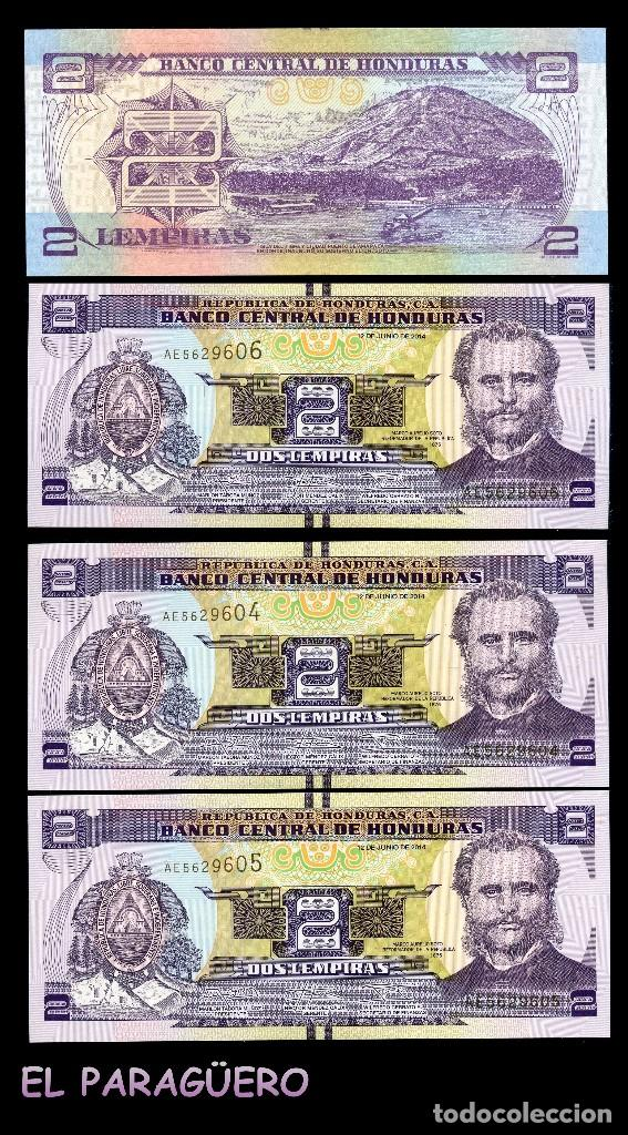 HONDURAS 2 LEMPIRAS DE 2014 TRIO CORRELATIVO (MARCO AURELIO SOTO- PRESIDENTE DE HONDURAS EN 1876) (Numismática - Notafilia - Billetes Extranjeros)