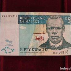 Banconote internazionali: MALAWI 50 KWACHA 2009 PICK 53D. Lote 205812961