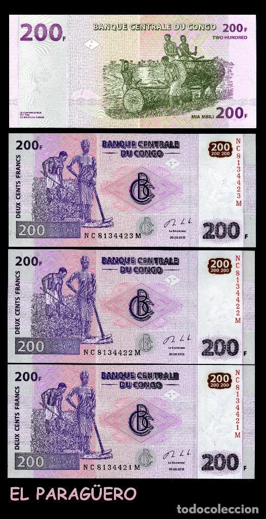 CONGO 200 FRANCOS DEL 2013 TRIO CORRELATIVO ( AGRICULTORES AFRICANOS TRABAJANDO EL CAMPO ) (Numismática - Notafilia - Billetes Extranjeros)
