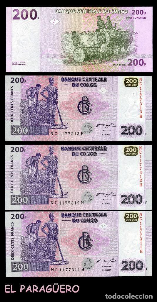 CONGO 200 FRANCOS DEL 2007 TRIO CORRELATIVO ( AGRICULTORES AFRICANOS TRABAJANDO EL CAMPO ) (Numismática - Notafilia - Billetes Extranjeros)
