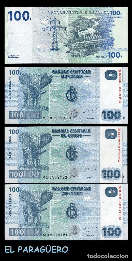 CONGO 100 FRANCOS DEL 2013 TRIO CORRELATIVO ( HOMENAJE AL ELEFANTE AFRICANO ) (Numismática - Notafilia - Billetes Extranjeros)
