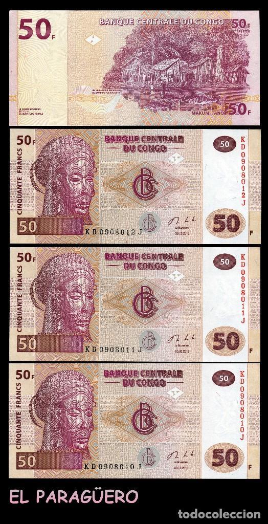 CONGO 50 FRANCOS DEL 2013 TRIO CORRELATIVO(ARTE ÉTNICO MASCARA DE PEZ ELEFANTE CULTURA LUBA ) (Numismática - Notafilia - Billetes Extranjeros)