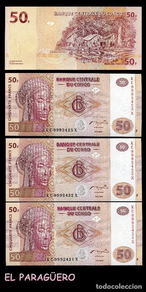 CONGO 50 FRANCOS DEL 2007 TRIO CORRELATIVO(ARTE ÉTNICO MASCARA DE PEZ ELEFANTE CULTURA LUBA ) (Numismática - Notafilia - Billetes Extranjeros)