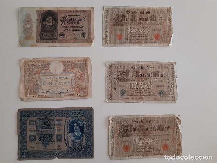 6 BILLETES ANTIGUOS ALEMANES, FRANCESES Y HÚNGAROS (Numismática - Notafilia - Billetes Extranjeros)