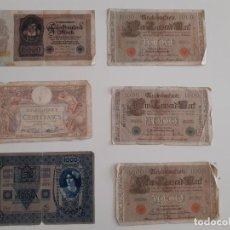 Billetes extranjeros: 6 BILLETES ANTIGUOS ALEMANES, FRANCESES Y HÚNGAROS. Lote 205849627