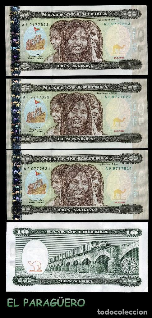 ERITREA 10 NAKFA DE 1997 TRIO CORRELATIVO ( 3 JOVENES MUJERES AFRICANAS ) (Numismática - Notafilia - Billetes Extranjeros)