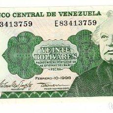 Billetes extranjeros: BILLETE DE VENEZUELA - 20 BOLÍVARES 1998 - SIN CIRCULAR - PLANCHA -. Lote 205859230