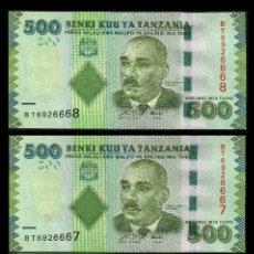 Billetes extranjeros: TANZANIA 500 SHILINGI POUND DEL 2010 TRIO CORRELATIVO ( ABEID AMANI - PRESIDENTE DE ZANZIBAR ). Lote 205864983
