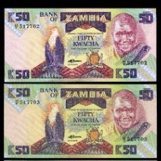 Billetes extranjeros: ZAMBIA 50 KWACHA DE 1986 TRIO CORRELATIVA ( ESCLAVO ROMPIENDO LAS CADENAS ). Lote 205866083
