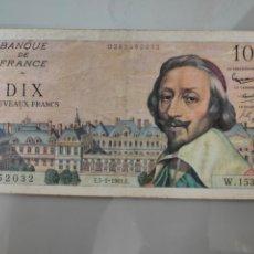 Billetes extranjeros: BILLETE 10 NUEVOS FRANCOS 1961 FRANCIA CARDENAL RICHELIEU. Lote 205873496