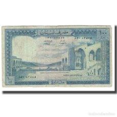 Billetes extranjeros: BILLETE, 100 LIVRES, LÍBANO, KM:66B, BC. Lote 206246175