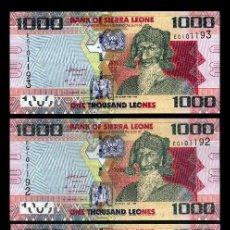 Billetes extranjeros: SIERRA LEONA 1000 LEONES DEL 2013 TRIO CORRELATIVO ( BAI BUREH - GOVERNANTE Y MILITAR ). Lote 206247537