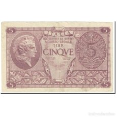 Billetes extranjeros: BILLETE, 5 LIRE, 1944, ITALIA, 1944-11-23, KM:31C, MBC. Lote 206296063