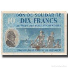 Billetes extranjeros: FRANCIA, BON DE SOLIDARITÉ, 10 FRANCS, MBC. Lote 206296133