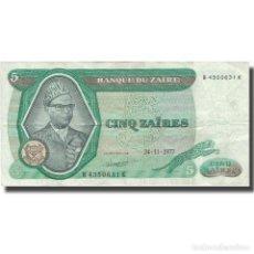 Billetes extranjeros: BILLETE, 5 ZAÏRES, 1977, ZAIRE, 1977-11-24, KM:21B, BC+. Lote 206296137