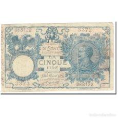 Billetes extranjeros: BILLETE, 5 LIRE, 1915, ITALIA, 1915-06-17, KM:23D, BC. Lote 206296228