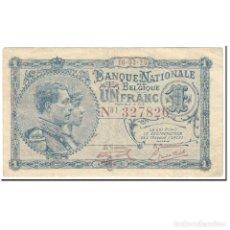 Billetes extranjeros: BILLETE, 1 FRANC, 1920, BÉLGICA, 1920-03-16, KM:92, MBC. Lote 206296291