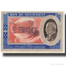 Billetes extranjeros: FRANCIA, BON DE SOLIDARITÉ, 2 FRANCS, 1941, SC. Lote 206296315