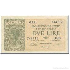Billetes extranjeros: BILLETE, 2 LIRE, 1944, ITALIA, 1944-11-23, KM:30A, EBC. Lote 206296317