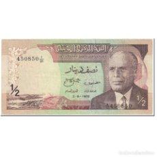 Billetes extranjeros: BILLETE, 1/2 DINAR, 1972, TÚNEZ, 1972-08-03, KM:66A, MBC. Lote 206296687