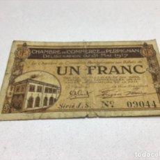 Billetes extranjeros: CHAMBRE DE COMMERCE DE PERPIGNAN DE LIBERATION DU 17 FEVRIER 1919 - UN FRANC. Lote 206318068